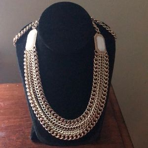 Gold and White Long Necklace